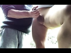 A stranger plays with my cock in pantyhose ,